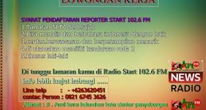 LOWONGAN KERJA REPORTER START 102.6 FM