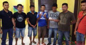 5 orang tersangka dari 10 orang tersangka saat diamankan di Mapolres Madina