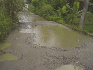 Jalan ke Sibanggor tepatnya di desa Purba Julu Kec. Puncak Sorik Marapi rusak parah