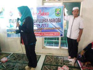 Nara sumber dari BNN Kabupaten Madina Ns. Faridah, S.Kep, saat memaparkan arahan dan bimbingan.