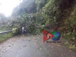 Kondisi longsor di perbatasan Panyabungan Selatan dengan Desa Sitinjak.Material longsor dan pohon menimbun badan jalan. Tak satupun kendaraan bisa lewat.