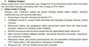 Penerimaan Tenaga Ahli TIK (e-Government) di Dinas Kominfo Madina