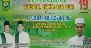 Saksikan Tausiah, Dzikir dan Doa Bersama Al-Ustadz H. Abdul Somad,LC., MA di Mandailing Natal
