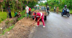 Unsur Muspika dan Camat Siabu Gotong Royong Bersihkan Drainase