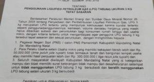 PNS atau CPNS Pakai Tabung Gas LPG Ukuran 3Kg Dilarang