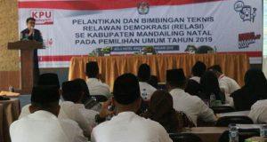 KPU Madina Lantik 55 Relawan Demokrasi