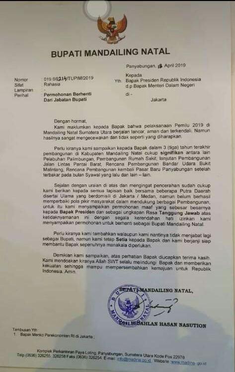 Kabag Humas Membenarkan Surat pengunduran Bupati Yang beredar di Medsos