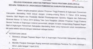 PENGUMUMAN : Seleksi Pengisian Jabatan Pimpinan Tinggi Pratama (Eselon II.a) – Sekretaris Daerah Kab. Madina
