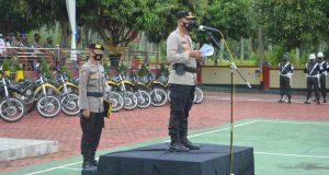 Kapolres Madina Pimpin Apel Gelar Pasukan Keamanan PSU dan Patroli Skala Besar Pengecekan TPS