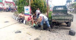 Drainase Diperbaiki, Genangan Air di Depan SPBU Pasarbaru Hilang